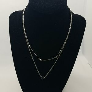 Silver double stacked heart necklace NWT